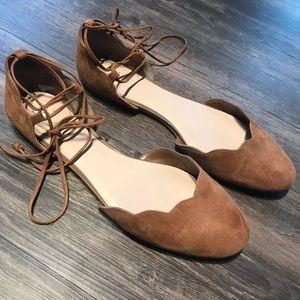 BP Sophie tan lace up tie ankle flats Size 11